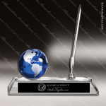 Crystal Blue Accented Globe with Pen Desk Set Trophy Award Globe Shaped Crystal Awards