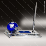 Desk Gift Crystal Blue Accented Globe Pen Set Engravable Award Globe Shaped Crystal Awards