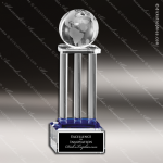 Crystal Blue Accented Globe On Pillars Trophy Award Globe Shaped Crystal Awards