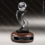 Crystal Wood Accented Optic Globe Tower Trophy Award Globe Shaped Crystal Awards