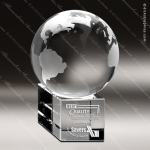 Crystal  Globe Large Optical Trophy Award Globe Shaped Crystal Awards