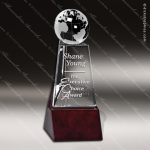 Crystal Wood Accented Mulholland Globe Trophy Award Globe Shaped Crystal Awards