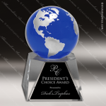 Crystal Blue Accented Globe Trophy Award Globe Shaped Crystal Awards