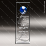 Crystal Blue Accented Global Wedge Globe Trophy Award Globe Shaped Crystal Awards