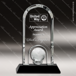 Crystal Black Accented Globe Dome Trophy Award Globe Shaped Crystal Awards