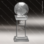 Crystal  Globe Tower Trophy Award Globe Shaped Crystal Awards