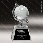 Crystal  Globe In Semi-Meridian Holder Trophy Award Globe Shaped Crystal Awards