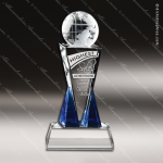 Crystal Blue Accented Destino Globe Trophy Award Globe Shaped Crystal Awards