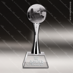 Crystal Silver Accented Globe Chrome Stand Trophy Award Globe Shaped Crystal Awards