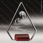 Crystal Red Accented Phenomenon Trophy Award Globe Shaped Crystal Awards
