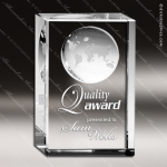 Crystal  Clear Globe Rectangle Block Trophy Award Globe Shaped Crystal Awards