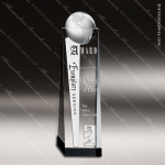 Crystal  Clear Globe Tower Trophy Award Globe Shaped Crystal Awards