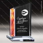 Acrylic Red Accented Modern Deco Trophy Award Gold Accented Acrylic Awards