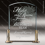 Acrylic Gold Accented Arch Solid Brass Base Trophy Award Gold Accented Acrylic Awards