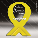 Acrylic Gold Accented Yellow Ribbon Stand-up Trophy Award Gold Accented Acrylic Awards