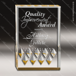 Acrylic Gold Rectangle Diamond Mirage Trophy Award Gold Accented Acrylic Awards