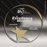 Acrylic Gold Accented Gemini Star Circle Trophy Award Gold Accented Acrylic Awards