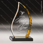Acrylic Gold Accented Flame Gold Hue Acrylic Award on Black Acrylic Base Gold Accented Acrylic Awards