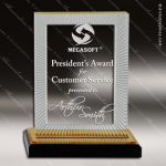 Acrylic Gold Accented Rectangle Impress Reflection Trophy Award Gold Accented Acrylic Awards