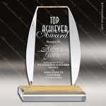 Acrylic Gold Accented Oval Edged Rectangle Panel Trophy Award Gold Accented Acrylic Awards