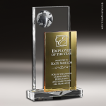Crystal Gold Accented Pangea Globe Trophy Award Gold Accented Crystal Awards