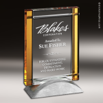 Crystal Gold Accented Rectangle Deco Trophy Award Gold Accented Crystal Awards