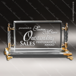 Crystal  Gold Accented Elegant Rectangle Frame Trophy Award Gold Accented Crystal Awards