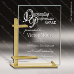Glass Gold Accented Rectangle Celebrity Alchemy Trophy Award Gold Accented Glass Awards