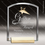 Macina Starforce Glass Gold Accented Rectangle Arch Star Trophy Award Gold Accented Glass Awards