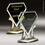 Glass Gold Accented Royal Diamond Tiara Trophy Award Gold Accented Glass Awards