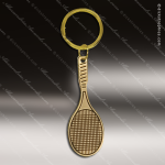 The Jafari Engraved Gold Brass Keychain Key Ring Tennis Racket Gold Brass Keychains