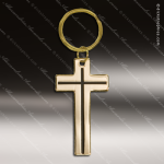 The Jafari Engraved Gold Brass Keychain Key Ring Religious Cross Gold Brass Keychains