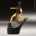 Resin Gold Mercury Black Abstract Series Soccer Trophy Award Gold Mercury Black Abstract Resin Trophy Awards