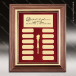The McAllen Walnut Framed Perpetual Plaque  12 Gold Plates Gold Plate Perpetual Plaques