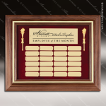 The McAllen Walnut Framed Perpetual Plaque  24 Gold Plates Gold Plate Perpetual Plaques