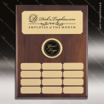 The Mercardo Walnut Perpetual Plaque  12 Gold Plates Gold Plate Perpetual Plaques