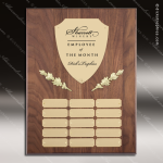 The Mercardo Walnut Perpetual Plaque  15 Gold Plates Gold Plate Perpetual Plaques