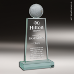 Glass  Jade Accented Golf Tower Engravable Trophy Award Golf Awards