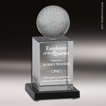 Glass Black Accented Golf Ball Tower Engravable Trophy Award Golf Awards