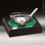 Cast Silver Rosewood Accented Golf Driver and Ball Trophy Award Golf Awards