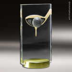 Crystal Sport Gold Accented  Golf Club and Ball Trophy Award Golf Awards