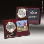 Desk Gift Rosewood Gold Accented Plaque Clock Award Golf Awards