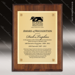 Engraved Walnut Finish Plaque  Gold Plate - Style 2 Golf Plaques