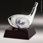 Cast Silver Rosewood Accented Golf Driver Trophy Award Golf Trophy Awards