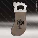 Embossed Etched Leather Magnetic Foot Shaped Bottle Opener Gray Gift Gray Leather Items