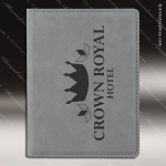 Embossed Etched Leather Passport Holder Gray Gift Gray Leather Items