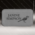 Laser Etched Engraved Gray Leather Name Badge Stitched Frame Magnet Backed Gray Leather Name Badges