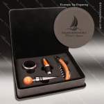 Engraved Etched Leather Wine Tool Set Gray 4 Piece Gift Set Award Gray Leather Wine Boxes & Tool Sets
