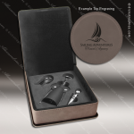 Engraved Etched Leather Wine Tool Set Gray 3 Piece Gift Set Award Gray Leather Wine Boxes & Tool Sets