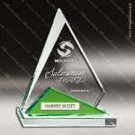 Crystal Green Accented Tipping Point Triangle Trophy Award Green Accented Crystal Awards